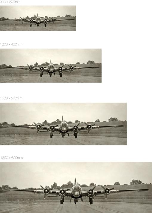 airplane-Panoramabild auf Edelstahl